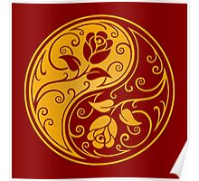 Red and Yellow Yin Yang Roses Poster
