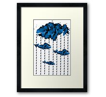Watercolor cloud and rain drops(white) Framed Print