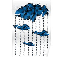 Watercolor cloud and rain drops(white) Poster