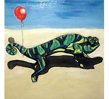 Gecko with Red Balloon Photographic Print