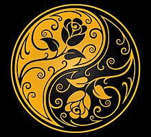 Yellow and Black Yin Yang Roses by Jeff Bartels