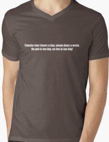 Ghostbusters - No Job Too Big, No Fee Too Big - White Font Mens V-Neck T-Shirt