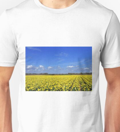 Daffodil fields in Hampshire, England Unisex T-Shirt