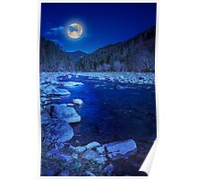 river rocky shore near the autumn mountain forest Poster