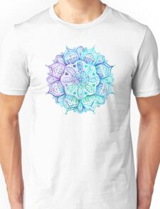 Iridescent Aqua and Purple Watercolor Mandala  Unisex T-Shirt