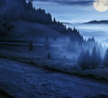 road near foggy forest in mountains at night Sticker