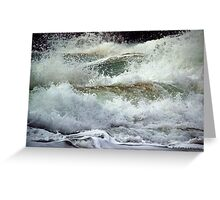 Above the waves it appears destructive, beneath tranquillity lies. Greeting Card