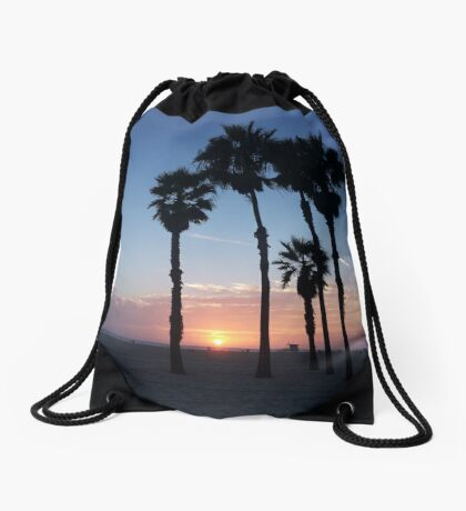 California palms beach Santa Monica sunset Drawstring Bag
