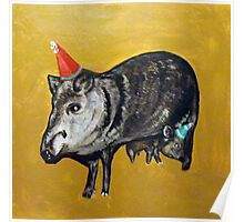 Javelinas with Party Hats Poster