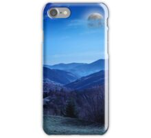 autumn hillside with red and yellow forest at night iPhone Case/Skin