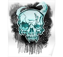 Blue Demon Skull Poster