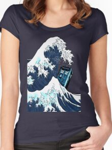 Space And Time traveller Box Vs The great wave Women's Fitted Scoop T-Shirt