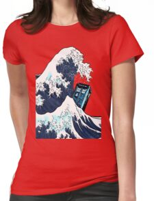 Space And Time traveller Box Vs The great wave Womens Fitted T-Shirt