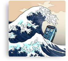 Space And Time traveller Box Vs The great wave Metal Print