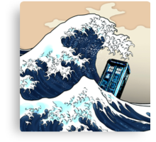 Space And Time traveller Box Vs The great wave Canvas Print
