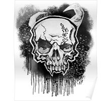 White Demon Skull Poster