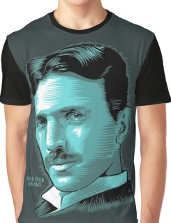 Nikola Tesla Portrait Science Electrical Graphic T-Shirt