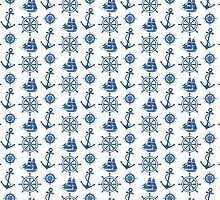 Blue and White Nautical Pattern by AntiqueImages