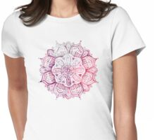 Burgundy Blush Watercolor Mandala Womens Fitted T-Shirt