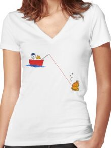 Little Fishing Trip Women's Fitted V-Neck T-Shirt