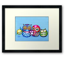 Funny Owl Family Portrait Framed Print