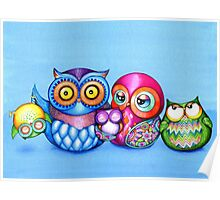 Funny Owl Family Portrait Poster