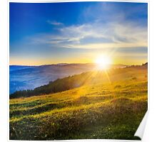 agricultural field in mountains Poster