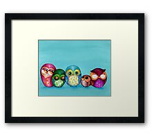 Fabric Owl Family Framed Print