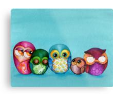 Fabric Owl Family Metal Print