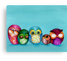 Fabric Owl Family Canvas Print