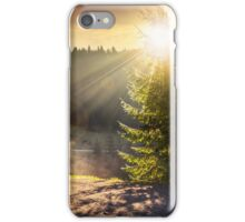 mountain road near the coniferous forest with cloudy morning sky iPhone Case/Skin
