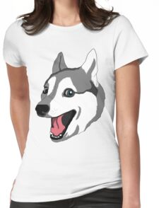 Happy Husky Womens Fitted T-Shirt