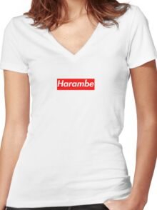 Harambe Supreme Box Logo Best Women's Fitted V-Neck T-Shirt