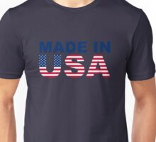 Made in USA text with USA flag Unisex T-Shirt