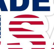 Made in USA text with USA flag Sticker