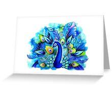 Peacock in Full Bloom Greeting Card