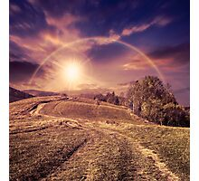 path on hillside meadow in mountain Photographic Print