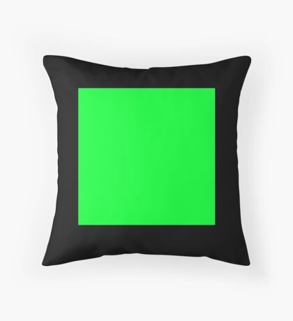 GREEN SQUARE, Green, Eco, Ecology, Ecological, Nature, Natural, on BLACK Throw Pillow
