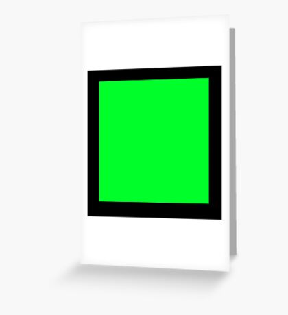 GREEN SQUARE, Green, Eco, Ecology, Ecological, Nature, Natural, on BLACK Greeting Card