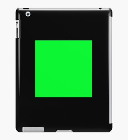 GREEN SQUARE, Green, Eco, Ecology, Ecological, Nature, Natural, on BLACK iPad Case/Skin