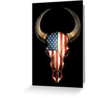 American Flag Bull Skull Greeting Card
