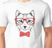 Cat with red glasses and bow Unisex T-Shirt