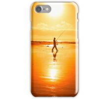 lone fisherman fishing on the Kerry beach iPhone Case/Skin