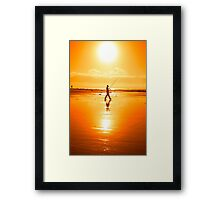 lone fisherman fishing on the Kerry beach Framed Print