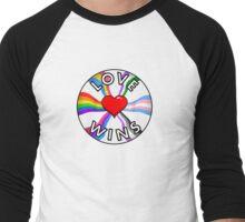 LOVE WINS—PRIDE FLAGS AND HEART Men's Baseball ¾ T-Shirt