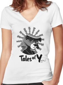 Tales of Y, Coco Looking Sideways Women's Fitted V-Neck T-Shirt