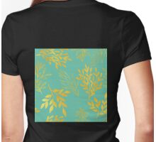Golden Leaves on aquamarine botanical pattern Womens Fitted T-Shirt