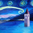 Sternennacht am Vierwaldstättersee in der Schweiz mit versunkener Stadt by artshop77
