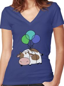 Balloon Cow Women's Fitted V-Neck T-Shirt
