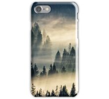 coniferous forest in foggy mountains iPhone Case/Skin